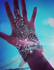 Designer wedding Boho couture crystal bracelet hand cuff Jewellery