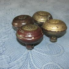 4 Matching Antique Victorian Metal Knobs with Raised Floral Detail