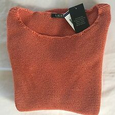 NEW  Polo RALPH LAUREN Women's Long sleeves Pullover Sweater Orange - X Small