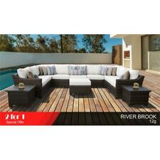 kathy ireland River Brook 12 Piece Wicker Patio Furniture Set 12g in Sail White