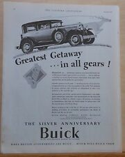 1928 magazine ad for Buick - Greatest Getaway in All Gears Silver Anniversary