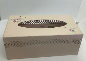 Vintage Pink Roses Simply Shabby Chic Tissue Box Cover Holder Blush Metal New