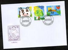 Liechtenstein 2003 FDC Mi-Nr. 1336-1338 Kinderzeichnungen: Kuh, Apfelbaum, Biene
