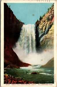 Vintage 1920's The Great Falls, Yellowstone National Park, Montana MT Postcard