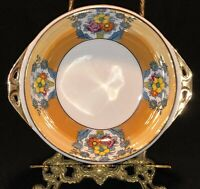 Vintage Noritake Hand Painted Lusterware Serving Bowl, Peach, Floral, Gild Trim