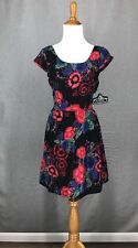 ANGIE Dress M Black Floral Dress Red Blue Open Lace Back Juniors NWT NEW