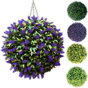 Artificial Lavender/Primrose Ball Topiary Flower Hanging Basket Door Garden Deco