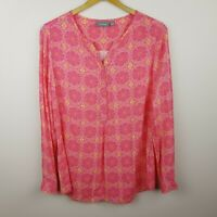 Sussan Top Size 12 Pink Print Long Sleeve