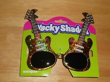 Novelty Party Play Prop Sunglasses Gold Glittery Elect Guitar Shaped Front Frame