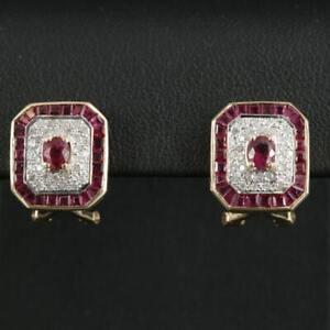 VINTAGE 14K LEVIAN RUBY  DIAMOND EARRINGS  CLIP AND OMEGA     LE VIAN QUALITY