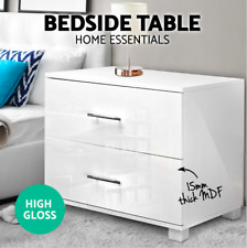 Premium High Gloss WHITE Bedside Table Cabinet Chest 2 Drawers Lamp Side Table
