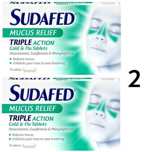 UK VERSION - 2 x Sudafed TRIPLE ACTION Mucus Relief Cold/Flu Tablets Relief