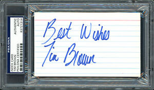 """Tim Brown Autographed 3x5 Index Card Raiders """"Best Wishes"""" PSA/DNA #83721314"""