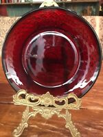 Vintage Red Ruby -Cranberry Glass Salad Dessert Plate Depression Era 8""