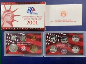 2001-S U.S. Silver Proof Set: Complete 10-Coin Set, with Box and COA   POSTPAID