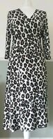 Hobbs Wrap Dress Leopard Print 3/4 Sleeve Stretch UK 12 Work Party