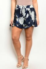 Women's Plus Size Navy Blue and Gray Silky Floral Print Shorts 2XL NEW