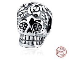 Skull Charm Genuine Sterling Silver 925 Fits European Bracelet - UK Postage