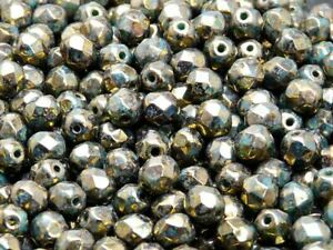 CHOOSE COLOR! 50pcs 6mm Czech Glass Fire Polished Beads Round