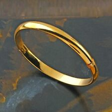 NEUF_OR Jaune 14 carat Laminé/plaqué_Bracelet Jonc 60 mm Femme_Armband_GF Bangle