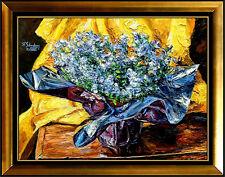 Sheldon Schoneberg Original PAINTING OIL ON Canvas Signed Still Life Flowers SC