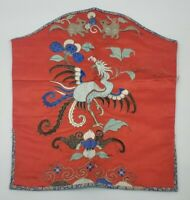Antique or Vintage Chinese Silk Garment Wire Metal Embroidery Bird