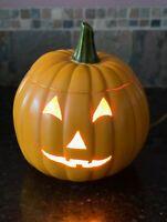 "Vtg Ceramic Jack O Lantern Light Up Pumpkin Halloween 11"" Orange Hand Painted"