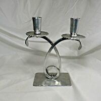 Vintage BW BUENILUM Hand Wrought Hammered Aluminum Double Two Candle Candelabra