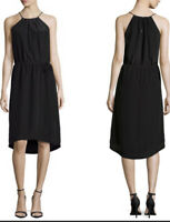 Joie Womens Size XS Black Florilege Silk Grecian Tank Midi Dress
