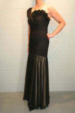 S~M Sz 6 ONE SHOULDER BLACK NET NUDE LINING JS LONG GOWN PROM PARTY DRESS