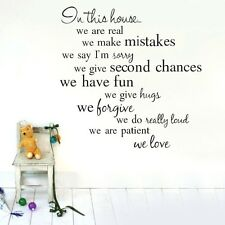 In This House Wall Quote Art Decal Vinyl Sticker Removable Decor Mural DIY