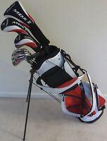 NEW Mens Complete Golf Club Set Driver Wood Hybrid Irons Putter & Bag Reg Flex