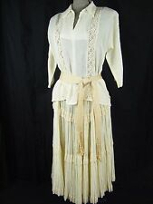 MARTHA OF TAOS Vtg 70s Cream Lace Blouse & Broomstick Skirt-Bust 38/Waist 26/S-M