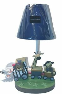 """Lambs and Ivy Train Lion, Giraffe, Monkey Table Lamp With. Blue Shade 13"""" Tall"""