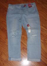 NEW! $54 ARIZONA Jeans ~ JUNIORS SIZE 13 ~ CUFFED DISTRESSED BOYFRIEND ~ NWT