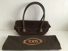 BNWOT TOD'S SMALL/MINI BROWN SUEDE EAST-WEST BAGUETTE BAG & DUSTBAG