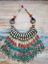 Large Tibetan Elegant Multi Strand Beaded Boho Long Statement Necklace