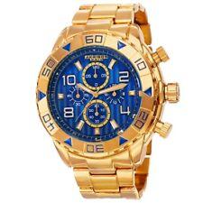 Akribos AK814YGBU Chronograph Quartz Yellow Gold Blue Dial Mens Watch