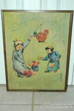 Vintage 16x21 Japanese Asian Batik/Cloth Play Time Children Toy Chicken Painting