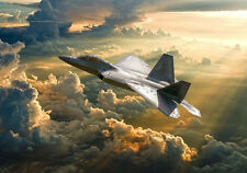 More details for  f-22 raptor usaf dramatic sky canvas prints various sizes free delivery