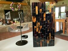 Partylite Brown Mosaic Stained Glass Square Candle Holder w/tealight tree. Euc