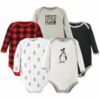 Hudson Baby Long-Sleeve Bodysuits, 5-Pack, Penguin