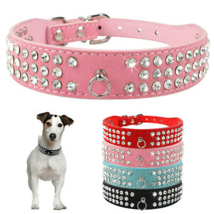 Bling Rhinestiones Diamante Soft Dog Collar Leather Cat Puppy Small Pet Crystal