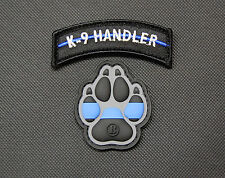 K9 Thin Blue Line PVC Patch Police Dog Handler Patch Set Morale Patch Hook