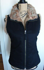 Faux Fur Reversible Vest Black Lining Pockets Size XS Silky Soft Imitation Fake