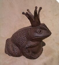 FROG PRINCE CHARMING GARDEN STATUE WITH CROWN cast iron DOOR STOP fairy tale