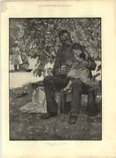 1885 SUPERBE Esquisse Étude de l'ombre et la lumière du soleil dessinées par Gunning King
