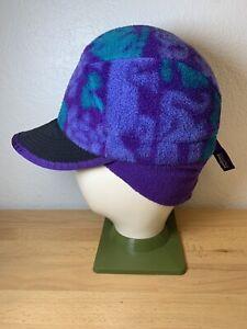 Vintage Patagonia Synchilla Fleece Duck Bill Hat Cap Ear Flap L USA Purple Aztec