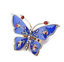 Anillo extensible de mariposa de esmalte azul plateado ajustable con cristal