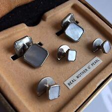 Vintage Stratton MOP Cuff links & shirt buttons 1930s silver tone Original box